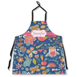 Owl & Hedgehog Apron Without Pockets w/ Name or Text