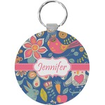 Owl & Hedgehog Round Keychain (Personalized)