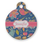 Owl & Hedgehog Round Pet Tag (Personalized)