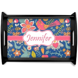 Owl & Hedgehog Black Wooden Tray (Personalized)