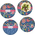 Owl & Hedgehog Set of 4 Lunch / Dinner Plates (Glass) (Personalized)