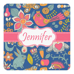 Owl & Hedgehog Square Decal - Large (Personalized)