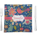 """Owl & Hedgehog Glass Square Lunch / Dinner Plate 9.5"""" - Single or Set of 4 (Personalized)"""