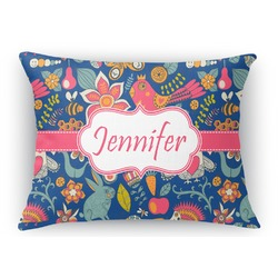 Owl & Hedgehog Rectangular Throw Pillow Case (Personalized)