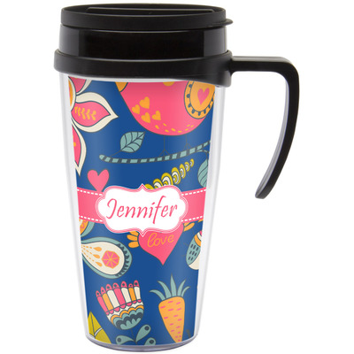 Owl & Hedgehog Travel Mug with Handle (Personalized)