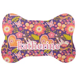 Birds & Hearts Bone Shaped Dog Food Mat (Personalized)