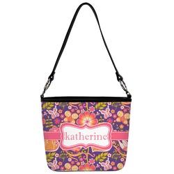 Birds & Hearts Bucket Bag w/ Genuine Leather Trim (Personalized)