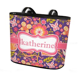 Birds & Hearts Bucket Tote w/ Genuine Leather Trim (Personalized)