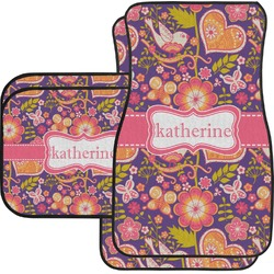 Birds & Hearts Car Floor Mats Set - 2 Front & 2 Back (Personalized)