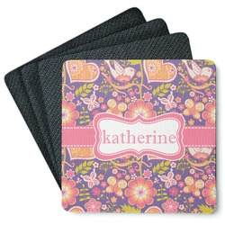 Birds & Hearts 4 Square Coasters - Rubber Backed (Personalized)