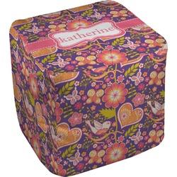 Birds & Hearts Cube Pouf Ottoman (Personalized)