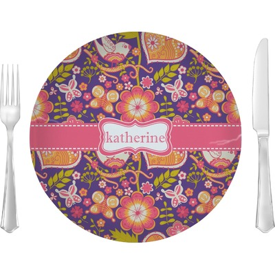 """Birds & Hearts 10"""" Glass Lunch / Dinner Plates - Single or Set (Personalized)"""