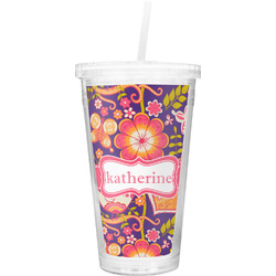 Birds & Hearts Double Wall Tumbler with Straw (Personalized)