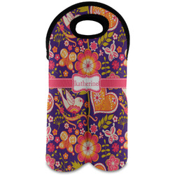 Birds & Hearts Wine Tote Bag (2 Bottles) (Personalized)
