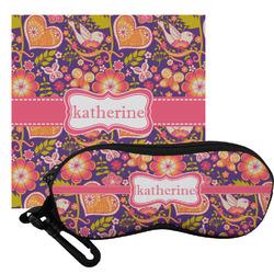 Birds & Hearts Eyeglass Case & Cloth (Personalized)