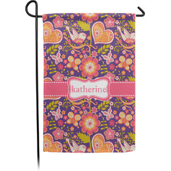 Birds & Hearts Single Sided Garden Flag With Pole (Personalized)