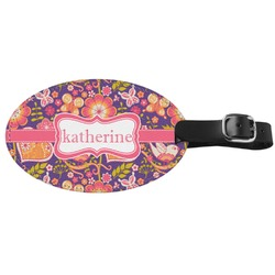 Birds & Hearts Genuine Leather Oval Luggage Tag (Personalized)