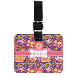Birds & Hearts Genuine Leather Luggage Tag w/ Name or Text