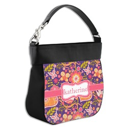 Birds & Hearts Hobo Purse w/ Genuine Leather Trim (Personalized)