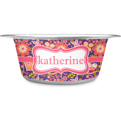 Birds & Hearts Stainless Steel Dog Bowl (Personalized)