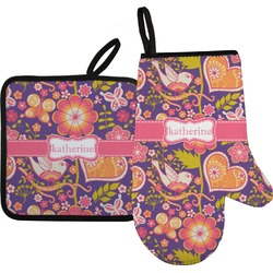 Birds & Hearts Oven Mitt & Pot Holder (Personalized)