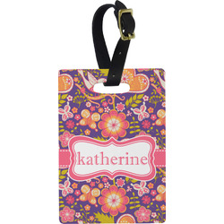 Birds & Hearts Rectangular Luggage Tag (Personalized)