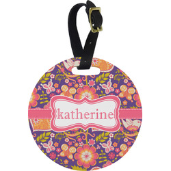 Birds & Hearts Round Luggage Tag (Personalized)