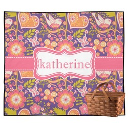 Birds & Hearts Outdoor Picnic Blanket (Personalized)