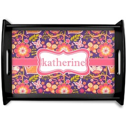 Birds & Hearts Black Wooden Tray (Personalized)