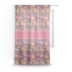 "Birds & Hearts Sheer Curtain - 50""x84"" (Personalized)"