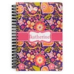 Birds & Hearts Spiral Bound Notebook - 7x10 (Personalized)