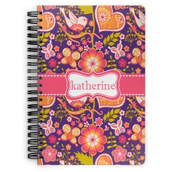 Birds & Hearts Spiral Bound Notebook (Personalized)
