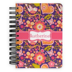 Birds & Hearts Spiral Bound Notebook - 5x7 (Personalized)