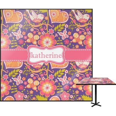 Birds & Hearts Square Table Top (Personalized)