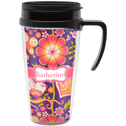 Birds & Hearts Travel Mug with Handle (Personalized)