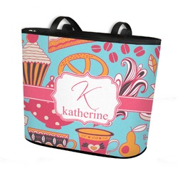 Dessert & Coffee Bucket Tote w/ Genuine Leather Trim (Personalized)