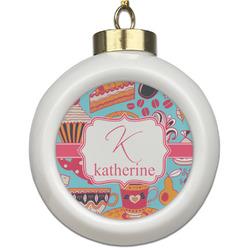 Dessert & Coffee Ceramic Ball Ornament (Personalized)