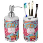 Dessert & Coffee Bathroom Accessories Set (Ceramic) (Personalized)