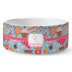Dessert & Coffee Ceramic Dog Bowl (Personalized)