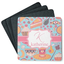Dessert & Coffee 4 Square Coasters - Rubber Backed (Personalized)