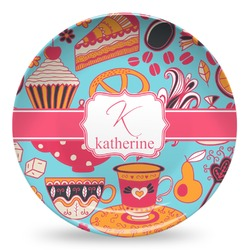 Dessert & Coffee Microwave Safe Plastic Plate - Composite Polymer (Personalized)