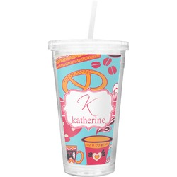 Dessert & Coffee Double Wall Tumbler with Straw (Personalized)