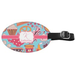 Dessert & Coffee Genuine Leather Oval Luggage Tag (Personalized)
