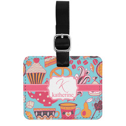 Dessert & Coffee Genuine Leather Luggage Tag w/ Name and Initial