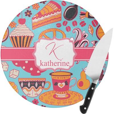 Dessert & Coffee Round Glass Cutting Board (Personalized)