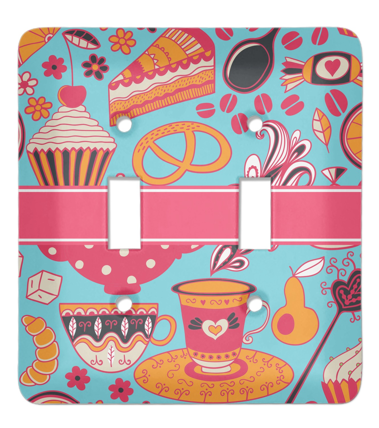 Dessert Coffee Light Switch Cover 2 Toggle Plate Personalized