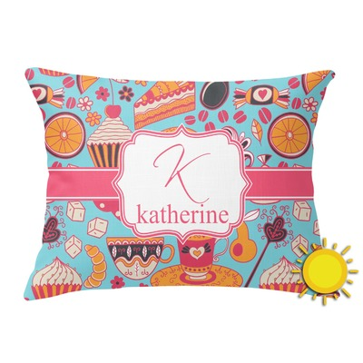 Dessert & Coffee Outdoor Throw Pillow (Rectangular) (Personalized)