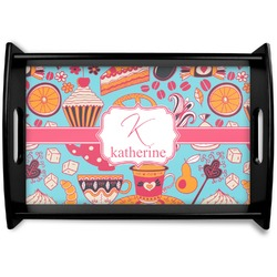 Dessert & Coffee Black Wooden Tray (Personalized)