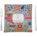 "Dessert & Coffee Glass Square Lunch / Dinner Plate 9.5"" - Single or Set of 4 (Personalized)"