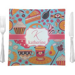 """Dessert & Coffee Glass Square Lunch / Dinner Plate 9.5"""" - Single or Set of 4 (Personalized)"""